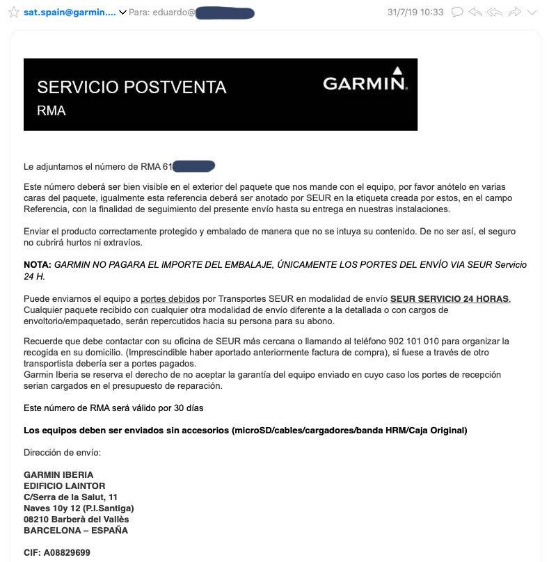 Tramitar garantía Garmin